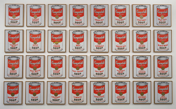 Andy Warhol. Campbell's Soup Cans. 1962. Synthetic polymer paint on thirty-two canvases, each canvas: 20 x 16″ (50.8 x 40.6 cm). The Museum of Modern Art. Partial gift of Irving Blum. Additional funding provided by Nelson A. Rockefeller Bequest, gift of Mr. and Mrs. William A. M. Burden, Abby Aldrich Rockefeller Fund, gift of Nina and Gordon Bunshaft in honor of Henry Moore, Lillie P. Bliss Bequest, Philip Johnson Fund, Frances R. Keech Bequest, gift of Mrs. Bliss Parkinson, and Florence B. Wesley Bequest (all by exchange), 1996. © 2015 Andy Warhol Foundation/ARS, NY/TM Licensed by Campbell's Soup Co. All rights reserved