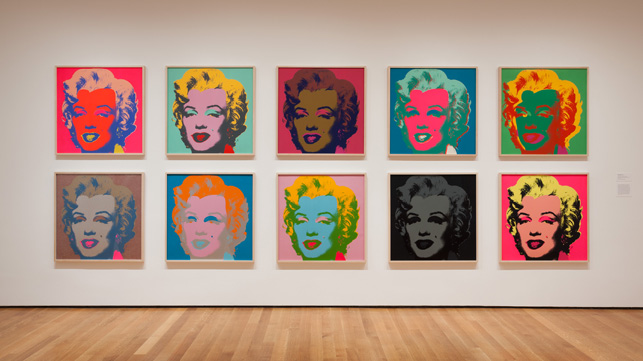 Installation view of Andy Warhol: Campbell's Soup Cans and Other Works, 1953–1967 at The Museum of Modern Art, April 25–October 12, 2015. Photo: Jonathan Muzikar. © 2015 The Museum of Modern Art, New York. Shown:  Andy Warhol. Marilyn Monroe. 1967. Portfolio of 10 screenprints, each composition and sheet: 36 x 36″ (91.5 x 91.5 cm). The Museum of Modern Art. Publisher: Factory Additions, New York. Printer: Aetna Silkscreen Products Inc., New York. Edition: 250. The Museum of Modern Art, New York. Gift of Mr. David Whitney, 1968. © 2015 Andy Warhol Foundation for the Visual Arts/Artists Rights Society (ARS), New York