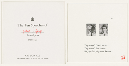 Gilbert & George. The Ten Speeches. 1971. Ten letterpress and relief halftones with letterpress cover. The​ ​Museum​ of Modern Art, New York. Gift of Art & Project/Depot VBVR. © 2015 Gilbert & George
