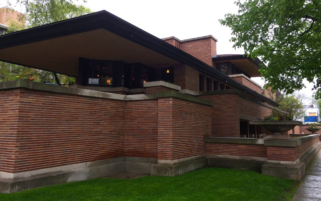 Frank Lloyd Wright. Exterior View of Frederick C. Robie House, Chicago, Illinois. Completed 1910.  Photo: Jessie Parsons