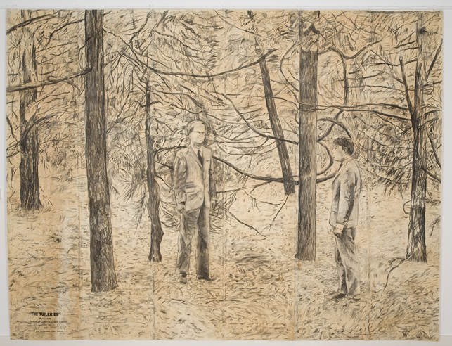 The Tuileries (detail). 1974. Charcoal on paper, and charcoal on paper mounted on wood, eight parts, overall dimensions variable. The Museum of Modern Art, New York. Gift of Art & Project/Depot VBVR in honor of Christophe Cherix, 2009. ©2015 Gilbert & George