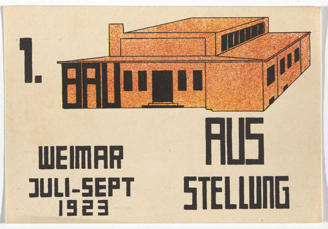 "Paul Haberer. Bauhaus Ausstellung Weimar Juli–Sept, 1923, Karte 13. 1923. Lithograph, 3 15/16 x 5 7/8 ""  (10 × 15 cm). Committee on Architecture and Design Funds. Photo: John Wronn"