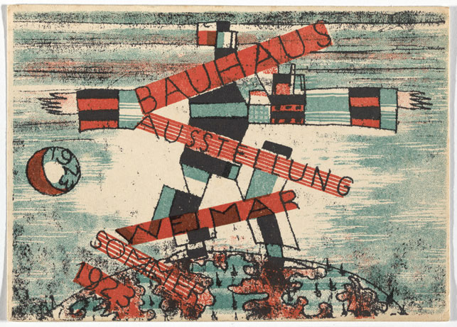 "Ludwig Hirschfeld-Mack. Bauhaus Ausstellung Weimar Juli–Sept, 1923, Karte 15. 1923. Lithograph, 3 15/16 x 5 7/8 "" (10 × 15 cm). Committee on Architecture and Design Funds. Photo: John Wronn"