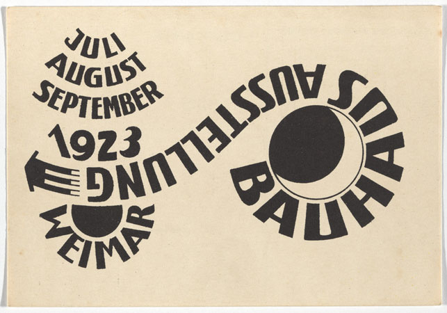 "Ludwig Hirschfeld-Mack. Bauhaus Ausstellung Weimar Juli–Sept, 1923, Karte 16. 1923. Lithograph, 3 15/16 x 5 7/8 "" (10 × 15 cm). Committee on Architecture and Design Funds. Photo: John Wronn"