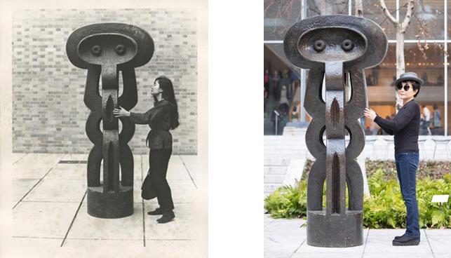 Left: Yoko Ono with Figure (1926–30) by Jacques Lipchitz, The Museum of Modern Art Sculpture Garden, New York. c. 1960–61. Photograph by Minoru Niizuma. © Minoru Niizuma. Courtesy Lenono Photo Archive, New York; Right: Yoko Ono with Figure (1926–30) by Jacques Lipchitz, The Museum of Modern Art Sculpture Garden, New York. Photograph by Kishin Shinoyama. Courtesy Lenono Photo Archive, New York. © 2015 Yoko Ono