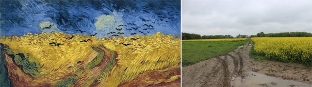 From left: Vincent van Gogh.  Wheatfield with Crows. Auvers-sur-Oise, July 1890. Oil on canvas, 50.5 x 103 cm. Van Gogh Museum, Amsterdam (Vincent van Gogh Foundation); The field where Van Gogh painted Wheatfield with Crows. Photo by Alex Roediger