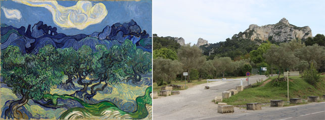 "From left: Vincent van Gogh. The Olive Trees. Saint Rémy, June-July 1889. Oil on canvas. 28 5/8 x 36"" (72.6 x 91.4 cm). Mrs. John Hay Whitney Bequest; View from across the street from where The Olive Trees and the entrance to Saint-Paul. Photo by Alex Roediger"