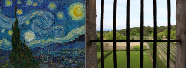 "From left: Vincent van Gogh. The Starry Night. Saint Rémy, June 1889. Oil on canvas, 29 x 36 1/4"" (73.7 x 92.1 cm). Acquired through the Lillie P. Bliss Bequest; The view from Saint-Paul's asylum that inspired The Starry Night. Photo by Alex Roediger"