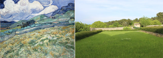 From left: Vincent van Gogh. Landscape from Saint-Rémy. Saint-Rémy: June, 1889. Oil on canvas, 70.5 x 88.5 cm. Ny Carlsberg Glyptotek, Copenhagen; View from the asylum yard, where Wheatfield Under Thunderclouds was painted. Photo by Alex Roediger
