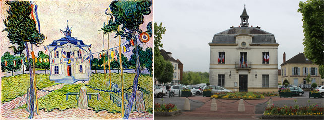 "From left: Vincent van Gogh. The Town Hall at Auvers . July 1890. Oil on canvas, 21 × 41"" (53 × 103 cm). Collection of Mr. and Mrs. Leigh B. Block; The town hall building today. Photo by Alex Roediger"