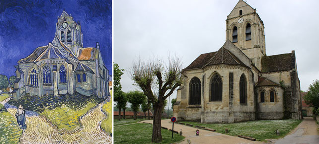 From left: Vincent van Gogh.  The Church in Auvers-sur-Oise, View from the Chevet. June 1890. Oil on canvas, 94 x 74 cm. © RMN-Grand Palais (Musée d'Orsay)/Hervé Lewandowski; Notre-Dame d' Auvers today. Photo by Alex Roediger