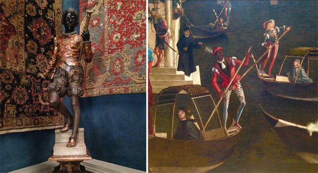 From left: A blackamoor sculpture at the Museo Stefano Bardini, Florence; Vittore Carpaccio. Miracle of the Relic of the Cross at the Ponte di Rialto (detail). c. 1496. Tempera on canvas. Gallerie dell'Accademia, Venice. Photos by Zalika Azim, 2015