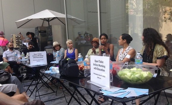 Open Table: Artists Working with Education, artists Xenobia Bailey and Chloë Bass in conversation with curator Petrushka Bazin Larsen. The Abby Aldrich Rockefeller Sculpture Garden, August 5, 2015. Photo: Athina Balapoulou