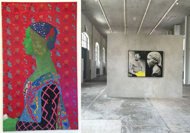 From left: Martial Raysse. Japan. 1964. Installation view from Martial Raysse, Palazzo Grassi, March 12–November 11, 2015; John Baldessari. Box (Blind Fate and Culture). 1987. Installation view from In Part, Prada Foundation, Milan, May 9–October 31, 2015. Photos: Heidi Hirschl