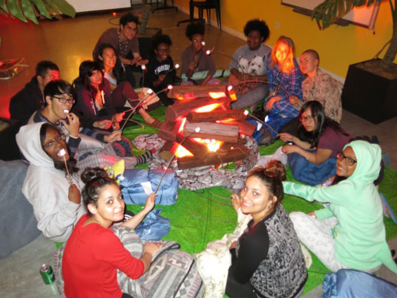 The campfire and marshmallow roast in the MoMA Teen studio space. Photo: Jaimie Warren