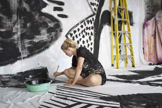 Naomi Clark painting in her studio. Brooklyn, August 2015. Photo: Nana Spears