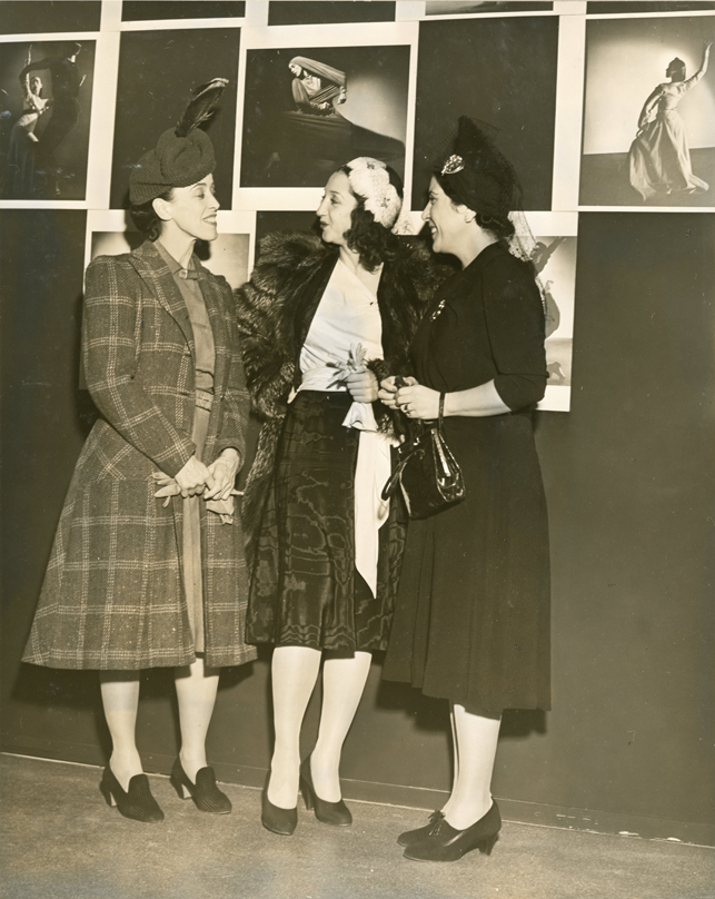 """Left to right: Martha Graham, La Argentinita (""""leading Spanish Dancer""""), Alexandra Danilova (""""star of Ballet Russe"""") at the opening of the exhibition, """"Forty Years of the American Dance,"""" October 22, 1940 {alternate title used in Museum Press Release: """"American Dancing and the Denishawns""""} October 23, 1940 through November 19, 1940"""