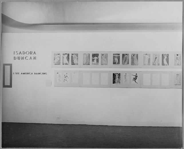 Photograph: Exhibitions organized by the Dance Archives [WSL, IV.2]  The photographs show Ballet History, Art and Practice (the first exhibition of the Dance Archives), March and April, 1940; Isadora Duncan: Drawings, Photographs, Memorabilia, October 21, 1941, to January 10, 1942; and Dancers in Movement: Photographs by Gjon Mili, January 13 to April 9, 1942.