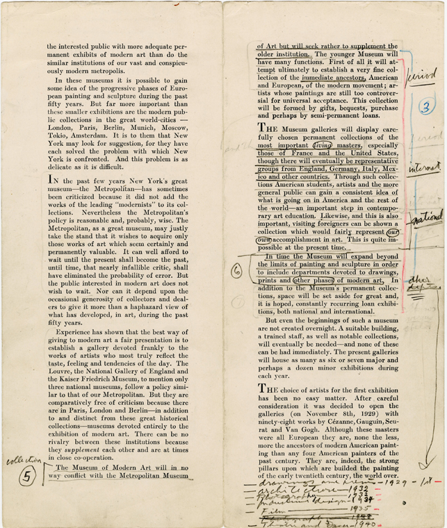 """The Museum of Modern Art, October 1929 [Alfred H. Barr, Jr. Papers, 9a.1A.]: This copy of the first brochure produced by the Museum was retrospectively annotated by founding director Alfred H. Barr, Jr., to list the departments of """"other phases of modern art"""" that were subsequently formed at the museum. The Department of Theatre and Dance is listed at the bottom."""