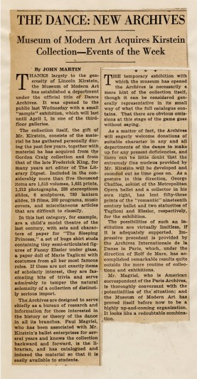 """Clipping: """"The Dance: New Archives: Museum of Modern Art Acquires Kirstein Collection—Events of the Week,"""" New York Times, March 10, 1940, and """"American Dance Archives Born,"""" Dance Magazine, March 1940 [Dance Archives, II.20]"""