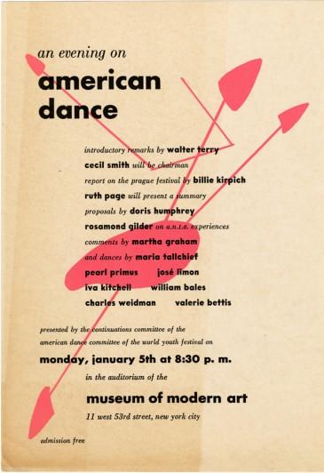 "Flyer: ""An Evening on American Dance,"" c. January 1948 [DA I.2]"