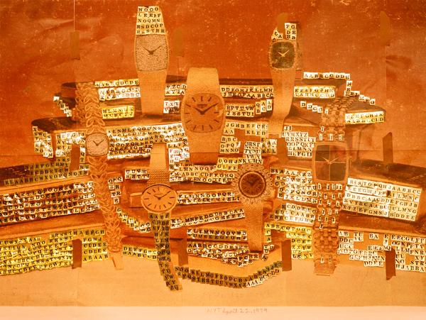 "Sara Cwynar. Gold - NYT April 22, 1979 (Alphabet Stickers). 2013. Chromogenic print mounted on Plexiglas, 30 x 40"" (76.2 x 101.6 cm). Courtesy the artist and Foxy Production, New York"