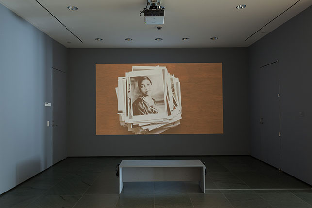 Andrea Geyer. Insistence. 2013. Video (color, sound), 15:21 min. Installation view, The Museum of Modern Art, New York, October 15–November 15, 2015. The Modern Women's Fund. © 2015 Andrea Geyer, courtesy Galerie Thomas Zander, Cologne