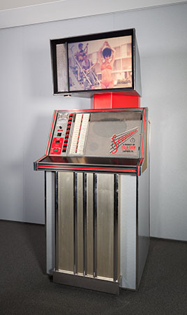 Scopitone ST36. 1963. 16mm film jukebox. Metal, plastic, and electronic components. Manufacturer: Cameca, France (est. 1929). Film Study Center Special Collections, 2008