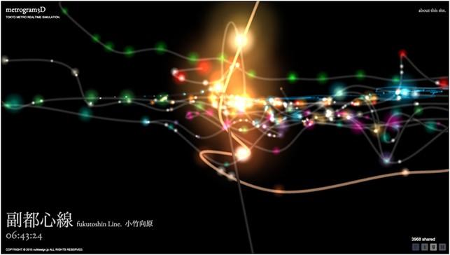 Metrogram: real time 3D interactive map of Tokyo subway - Hiroshi Koi.( https://www.chromeexperiments.com/)