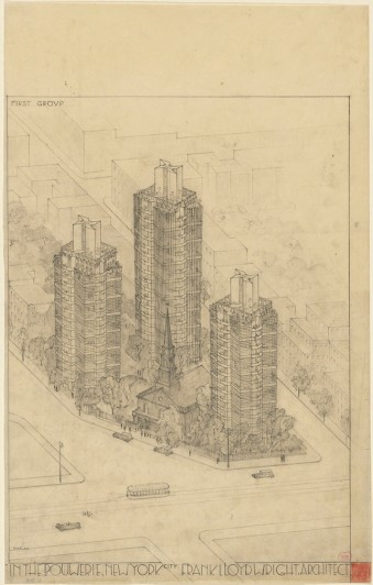 Frank Lloyd Wright. St. Mark's-in-the-Bouwerie Towers, New York. 1927–31. Aerial perspective. Graphite and colored pencil on tracing paper