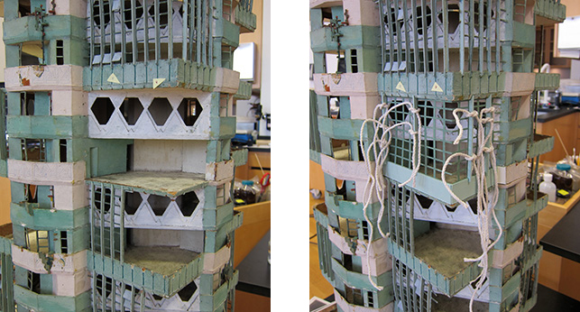 Left: Apartment unit with missing exterior; Right: New exterior applied with string clamps