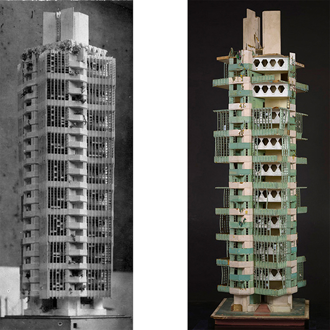 Left: St. Marks Tower model on display at the Art Institute of Chicago, 1930; Right: St. Marks Tower Model at MoMA, before treatment, 2013
