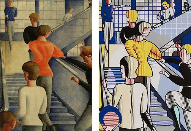 """From left: Oskar Schlemmer (German, 1888-1943). Bauhaus Stairway. 1932. Oil on canvas, 63 7/8 x 45"""" (162.3 x 114.3 cm). The Museum of Modern Art, New York. Gift of Philip Johnson; Roy Lichtenstein (American, 1923-1997). Bauhaus Stairway. 1988. Oil and magna on canvas, 7' 10"""" x 66"""" (238.8 x 167.7 cm). The Museum of Modern Art, New York. Gift of Dorothy and Roy Lichtenstein"""