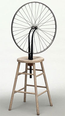 Marcel Duchamp. Bicycle Wheel. New York, 1951 (third version, after lost original of 1913). Metal wheel mounted on painted wood stool. The Museum of Modern Art, New York. The Sidney and Harriet Janis Collection. © 2016 Artists Rights Society (ARS), New York/ADAGP, Paris/Estate of Marcel Duchamp