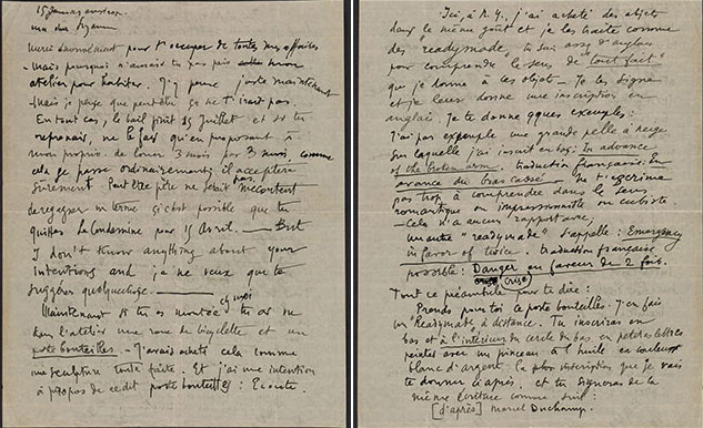 Marcel Duchamp's letter to Suzanne Duchamp, January 15, 1916. Jean Crotti papers. Archives of American Art, Smithsonian Institution