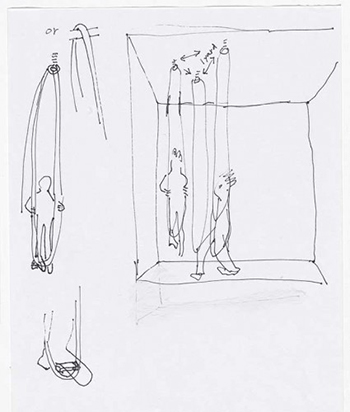 Instruction sketch for Hangers (1961). 2010. Pen and pencil on paper. The Museum of Modern Art, New York. © 2016 Simone Forti