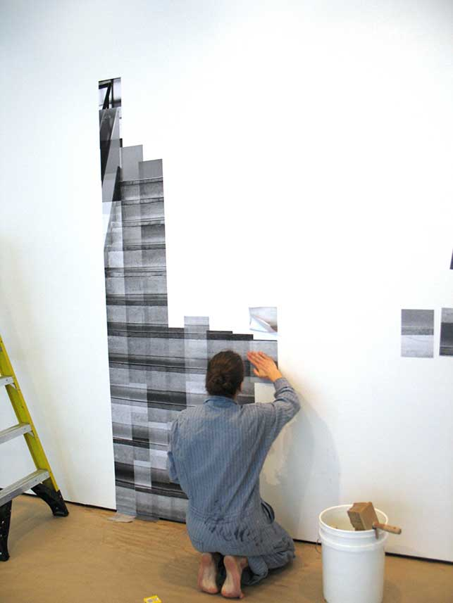 Katharina Gaenssler beginning work on the photo-mural, October 27, 2015. Photo: Kristen Gaylord