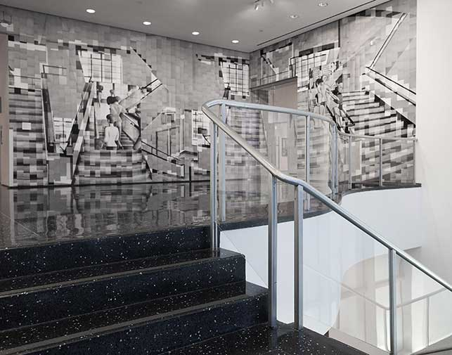 "Katharina Gaenssler (German, b. 1974). Bauhaus Staircase. 2015. Photocopies and wallpaper paste, 12' 5"" × 32"" (378.5 × 975.4 cm). Installation view of Ocean of Images: New Photography 2015. The Museum of Modern Art, New York, November 7, 2015–March 20, 2016. © 2016 The Museum of Modern Art. Photo: Thomas Griesel"