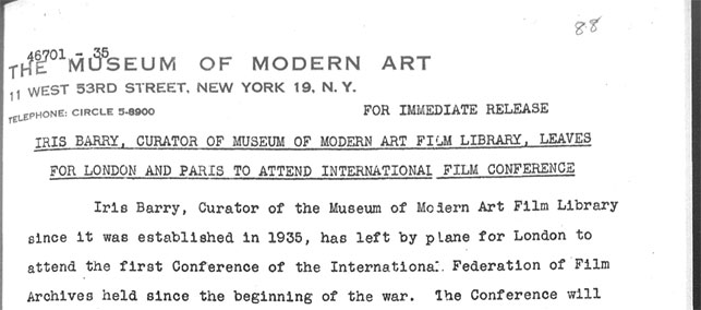 The 1946 press release announcing Iris Barry's trip to the FIAF conference