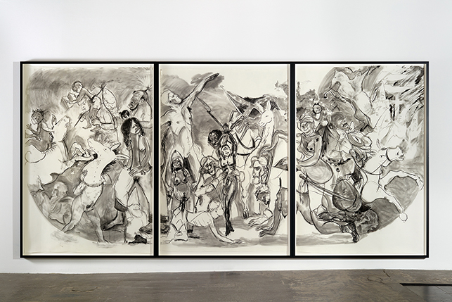 """Kara Walker. 40 Acres of Mules. 2015. Charcoal on three sheets of paper, each approximately: 104 x 72"""" (264.2 x 182.9 cm). The Museum of Modern Art, New York. Acquired through the generosity of Candace King Weir, Agnes Gund, and Jerry I. Speyer and Katherine Farley. © 2016 Kara Walker. Photo courtesy the artist and Victoria Miro Gallery, London"""
