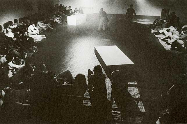 Platforms (1961), performed at Danza Volo Musica Dinamite Festival, L'Attico, Rome, 1969. © 2016 Simone Forti