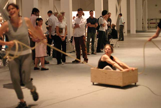 Roller Boxes (1960), performed at The Museum of Contemporary Art, Los Angeles, 2004. Photo: Carol Peterson