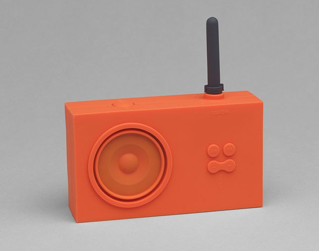 Marc Berthier. Tykho Radio. 1997. Synthetic rubber and other materials, 5 1/2 x 5 1/2 x 1 5/8″ (14 x 14 x 4.1 cm). Manufactured by Lexon, France. The Museum of Modern Art, New York. Gift of the manufacturer.