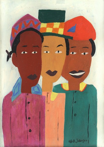 "William H. Johnson. Three Girls. 1941. Oil on wood panel, 17 ½ x 12 ½"" (44.5 x 31.8 cm). The Museum of Modern Art, New York. © 2016 Johnson Estate. Photo courtesy Alexandre Gallery"
