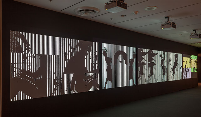 Installation view of Ernie Gehr: Carnival of Shadows, The Museum of Modern Art, November 21, 2015–April 30, 2016. © 2016 The Museum of Modern Art, New York. Photo: Thomas Griesel