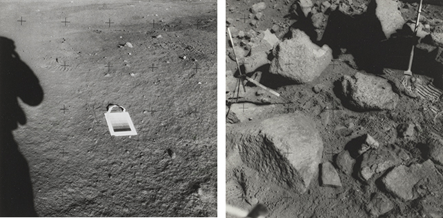 Left: Untitled photograph from the Apollo 12 mission. November 1969. Gelatin silver print. The Museum of Modern Art, New York. Gift of Susan and Peter MacGill; right: Untitled photograph from the Apollo 15 mission. July 1971. Gelatin silver print. The Museum of Modern Art, New York. Gift of Susan and Peter MacGill