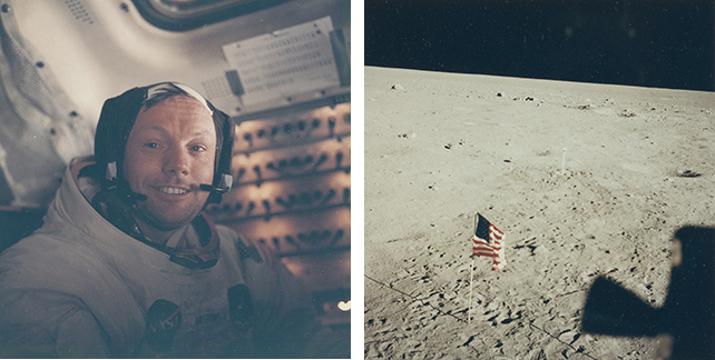 Left: Untitled photograph from the Apollo 11 mission. July 1969. Chromogenic color print. The Museum of Modern Art, New York. Gift of Susan and Peter MacGill; right: Untitled photograph from the Apollo 11 mission. July 1969. Chromogenic color print. The Museum of Modern Art, New York. Gift of Susan and Peter MacGill