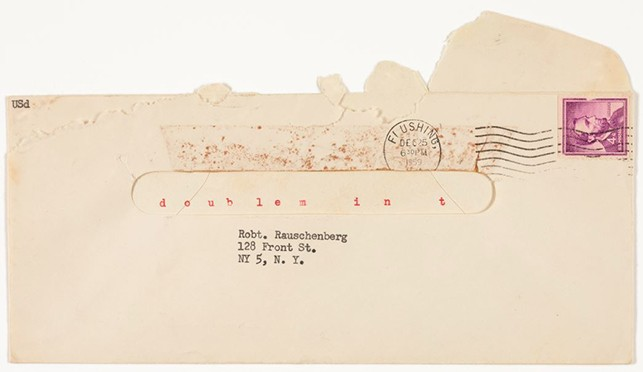 """doub lem in t"" envelope sent to Robert Rauschenberg from Ray Johnson. Postmarked December 25, 1959. Die cut stamped envelope and typewritten in black and red ink. Ray Johnson Correspondence to Robert Rauschenberg, 12. The Museum of Modern Art Archives, New York"
