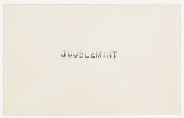 "Card with ""Doublemint"" sent to Robert Rauschenberg from Ray Johnson. 1959. Ink on Paper. Ray Johnson Correspondence to Robert Rauschenberg, 9. The Museum of Modern Art Archives, New York"