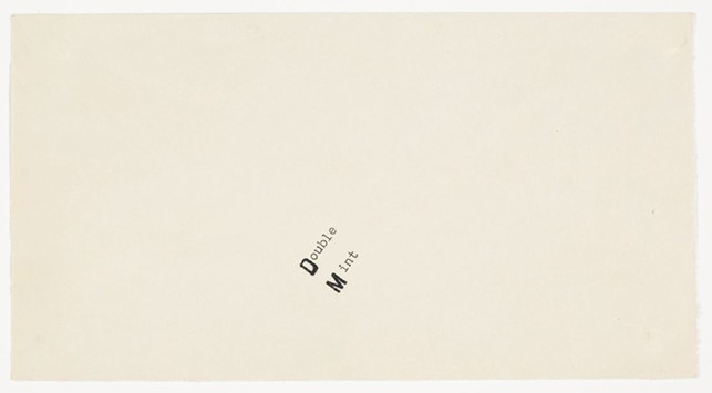 "Card with ""Double Mint"" sent to Robert Rauschenberg from Ray Johnson. 1960. Ink on Paper. Ray Johnson Correspondence to Robert Rauschenberg, 21. The Museum of Modern Art Archives, New York"